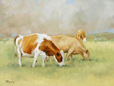 Original Oil painting - farmyard  art -  cows by UK artist j payne
