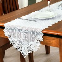 Elegant Lace Table Runner Embroidery Hollow Floral Cloth Home Cafe Wedding Decor