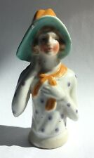 Vintage Half Doll for Pin Cushion Porcelain Woman in Hat Bonnet Japan