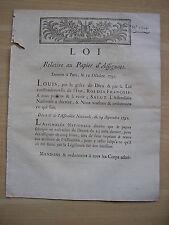 LOI relative au papier d' assignats 1791