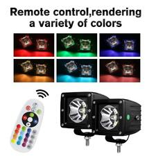 """2X 3"""" CREE LED Work Light Bar Spot Cube Pods RGB Color Changing SUV Rock Disco"""