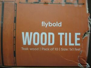 Flybold Wood Interlocking Floor Tiles Solid Teak Wood Flooring Tile 10 pk NEW