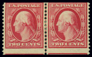 US #388 2¢ carmine, guide line pair