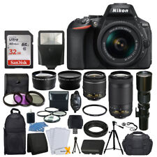 Nikon D5600 DSLR Camera w/ 18-55mm VR + 70-300mm VR + 500mm +32GB Top Value New