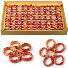 10Pcs Wholesale Jewellery Lots Wood Wooden Mixed Color Natural Rings Fashion