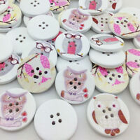 Wholesale 40/20pcs Carton Wooden Big Print Owl Buttons Doll Sewing Craft 30 mm