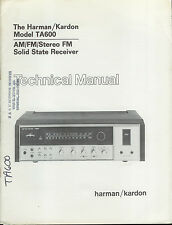 Rare Factory Harman Kardon TA600 AM/FM Stereo Receiver Technical/Service Manual
