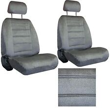 Grey Gray Interwoven Weave Car SEAT COVERS 2 seatcovers w/ 2 head rests 40-120-1