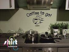 WT 662 -  Kaffee Coffee to go Tasse Küche  Wandtattoo Spruch Aufkleber Sticker