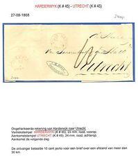 NEDERLAND 1868  REKENING HARDERWYK- URECHT