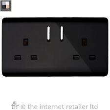 Nuevo Trendi 2 Gang artístico moderno brillante de 13 Amp de conmutada Plug Socket Negro