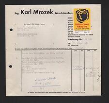 Vechelde, invoice 1965, Ing. Karl Mrozek dicktenhobel-Machine Factory Exhibition Ha