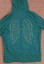 Victoria's Secret Supermodel Essentials Green Hoodie Medium Angel Wings Zip