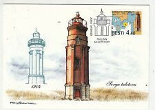 Estonia 2004 Lighthouse MAXI CARD with stamp on it
