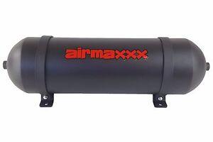 """3 Gallon 6 Port Air Tank Black 24"""" Seamless Spun Aluminum Air Ride Suspension"""