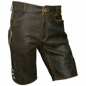 Lederhose Trachten kurz braun Leder speckig Patina Herren Trachtenlederhose Zipp