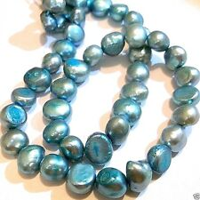 Baroque Cultured Freshwater Pearls 14 Inch, 7-8 mm Light Blue S07 Ships from USA