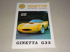 Prospekt / Broschüre Ginetta G33 G4 G12 G32i British Sportscars Stand 1992