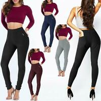 WOMENS LADIES STRETCHY LEGGINGS ZIP POCKETS JEGGINGS PANTS SLIM SKINNY TROUSERS