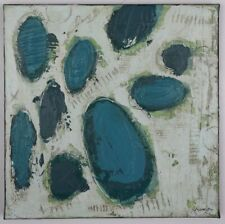 Abstract Original Painting Blue Ovals Textured Art Artwork Signed Canvas 9-1/2""