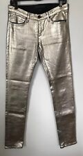 Juicy Couture Black Label Gold Coated Skinny Denim Metallic Jeans Size 26x32