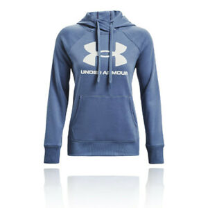 Under Armour Womens Rival Fleece Logo Hoodie Blue Sports Gym Hooded Breathable