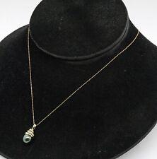 14K yellow gold elegant 0.08CT diamond & 8.3 x 9.0mm pearl pendant necklace