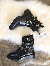 Zara Black Leather Biker Ankle Boots With Metal Buckles  UK6 EU39 US8 # 726