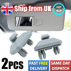 2x Grey Sun Visor Clip Hook Bracket for Audi A3 A4 A5 A7 B6 B7 B8 Q3 Q5 S4 S5 TT