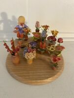 Wooden Lady with Flowers Florist Germany Hand Carved & Painted
