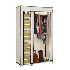 VonHaus Double Canvas Effect Wardrobe Clothes Cupboard Hanging Rail Storage - 6 Shelves