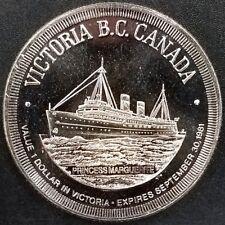 "Victoria B.C. Canada, Trade Dollar, ""City of Gardens"" token! 33 mm!"