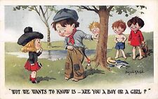 POSTCARD   COMIC  DONALD  McGILL  Children  Related  Wot he wants to  know is..