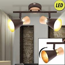 Landhaus Stil LED Decken Lampe dimmbar Flur Holz Strahler gold RGB FERNBEDIENUNG