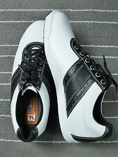 Foot Joy Men Black White Contour Casual Golf Spike less Shoes 54086 sz  9 ½ M