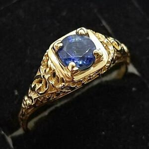 Antique Filigree .55ctw Blue Sapphire 14K Yellow Gold 925 Silver Ring Size 6