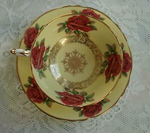 Paragon Floating Red Roses Cup and Saucer Gold Trim