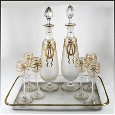 Antique French Aperitif, Liqueur Service, St. Louis, Engraved & Gold Enamel Work