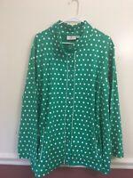 Quacker Factory Polka Dot Stretch Jacket Plus Size 3X Green White Snap Front A6