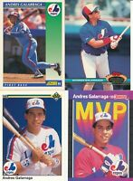 Andres Galarraga lot of 4 different Montreal Expos baseball cards