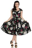 Hell Bunny Kalei Vintage Retro 1950's Tropical Hibiscus Floral Pinup Party Dress