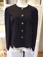 VTG  LESLIE FAY Blazer Black Jacket Gold Tiger Front Buttons Long Sleeves L EUC
