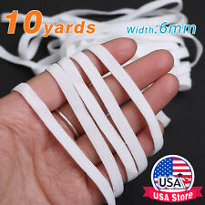 "10 yards Flat Braided Elastic Band 1/4"" (6mm) width White US Sewing Trim Braided"