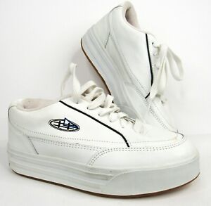 Vintage Y2K Sideout Platform Sneakers Skate Shoes 10 Chunky White Leather 90s