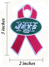 New York Jets Breast Cancer Awareness Ribbon Embroidered Iron On Patch.