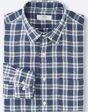 UNIQLO Men's 100% Premium French Linen Long-Sleeve Shirt L Blue Plaid/Check NWT!