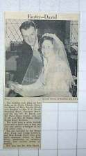 1960 Miss Patricia David Of Thornton Heath Marries Peter Easter Of Battersea