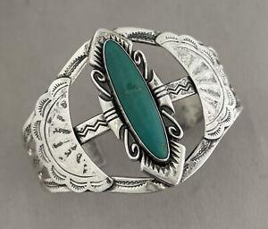 BELL TRADING Southwestern Design Sterling Silver & Turquoise Cuff Bracelet;N531