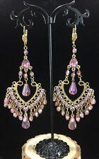 y Vintage AB Pink Rhinestone & Crystal Gold Tone Chandelier Earrings
