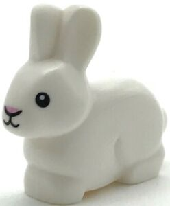Lego New White Bunny Rabbit Animal with Black Eyes and Mouth Bright Pink Nose